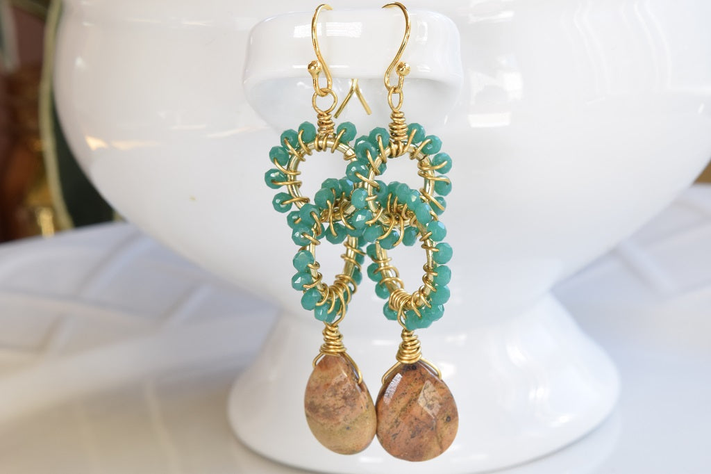 Double Hoop Jasper Earrings
