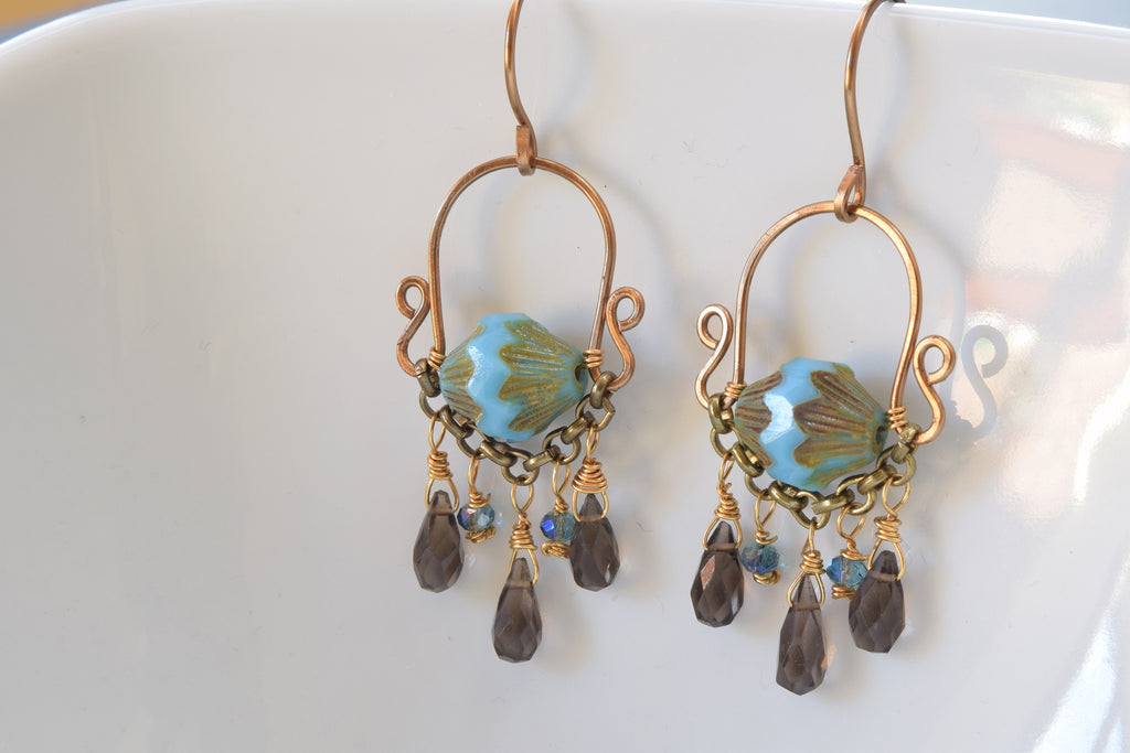 Smoky quartz and Czech Earrings