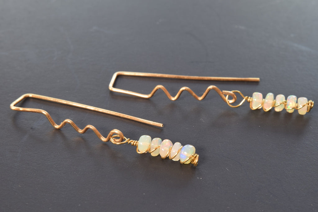 Ethopian Opal Zig Zag Earrings