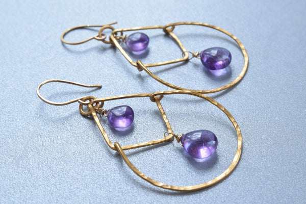 Amethyst Hammered Brass Earrings