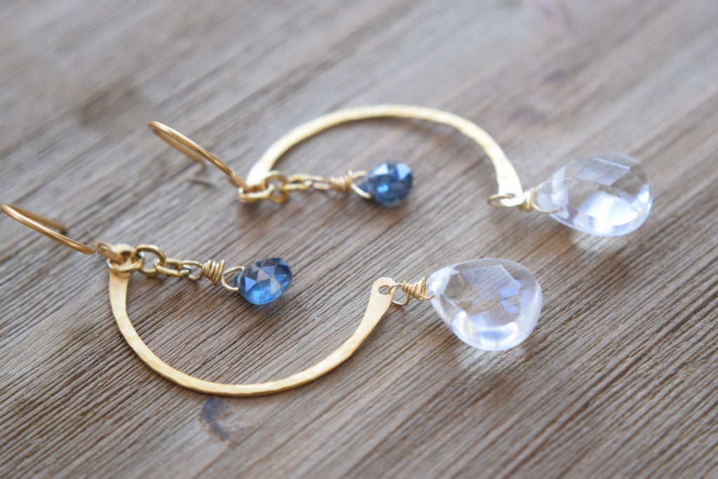 Blue Kyanite and Quartz Crescent Moon Earrings