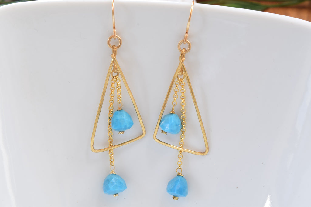 Turquoise Angled Earrings