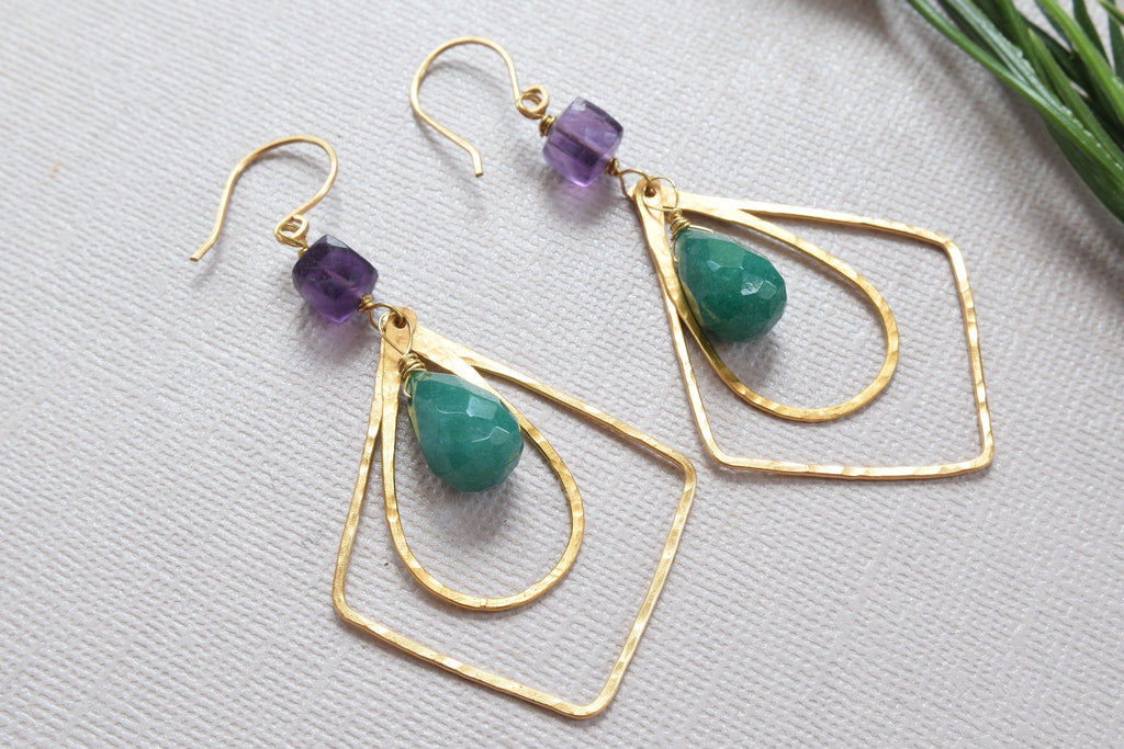 Purple Fluorite and Jade Earrings