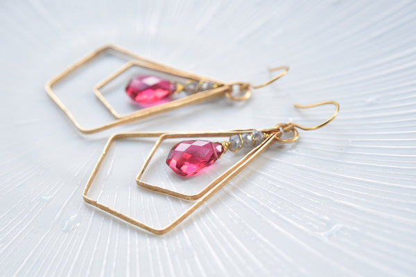 Pink Hydro Quartz Modern Chic Earrings