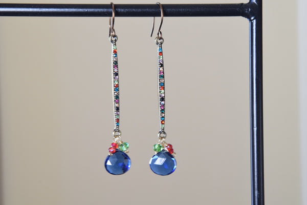 Blue Quartz Multicolored Dangle Earrings