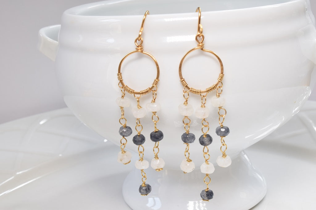 Moonstone and Agate Fringe Earrings