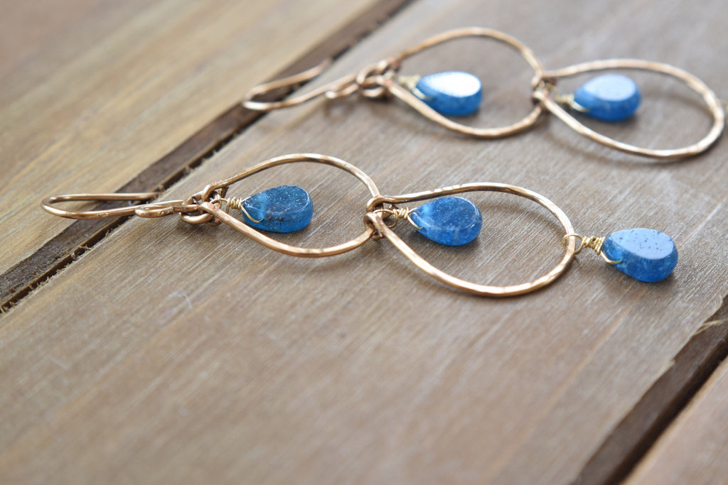 Double Hoop Apatite Earrings