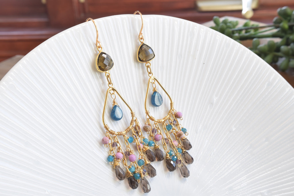 Apatite and Smoky Quartz Chandelier Earrings