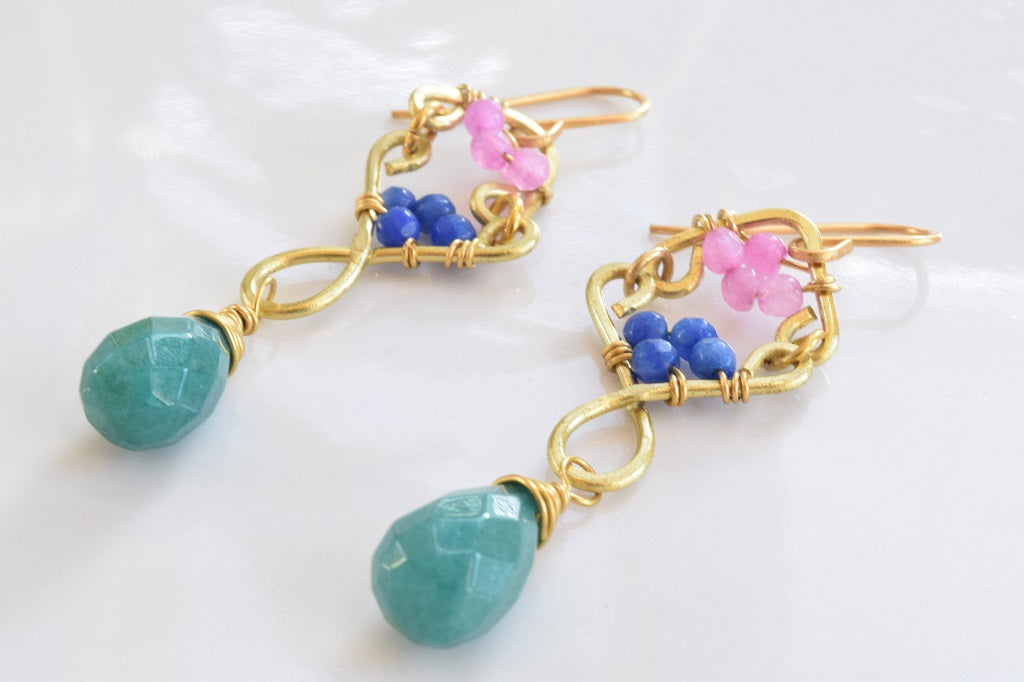 Vibrant colored jade earrings