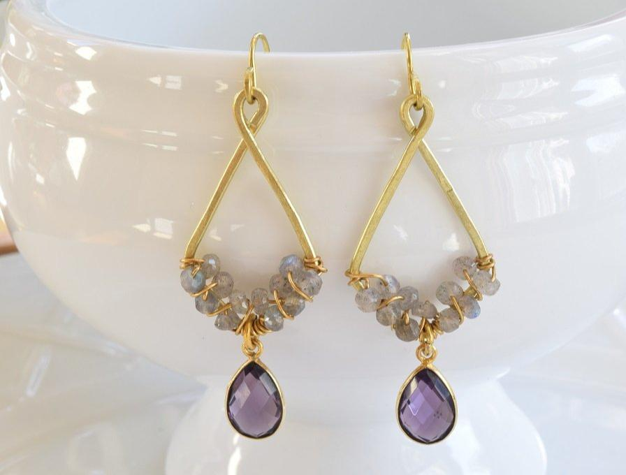 Amethyst and Labradorite Earrings