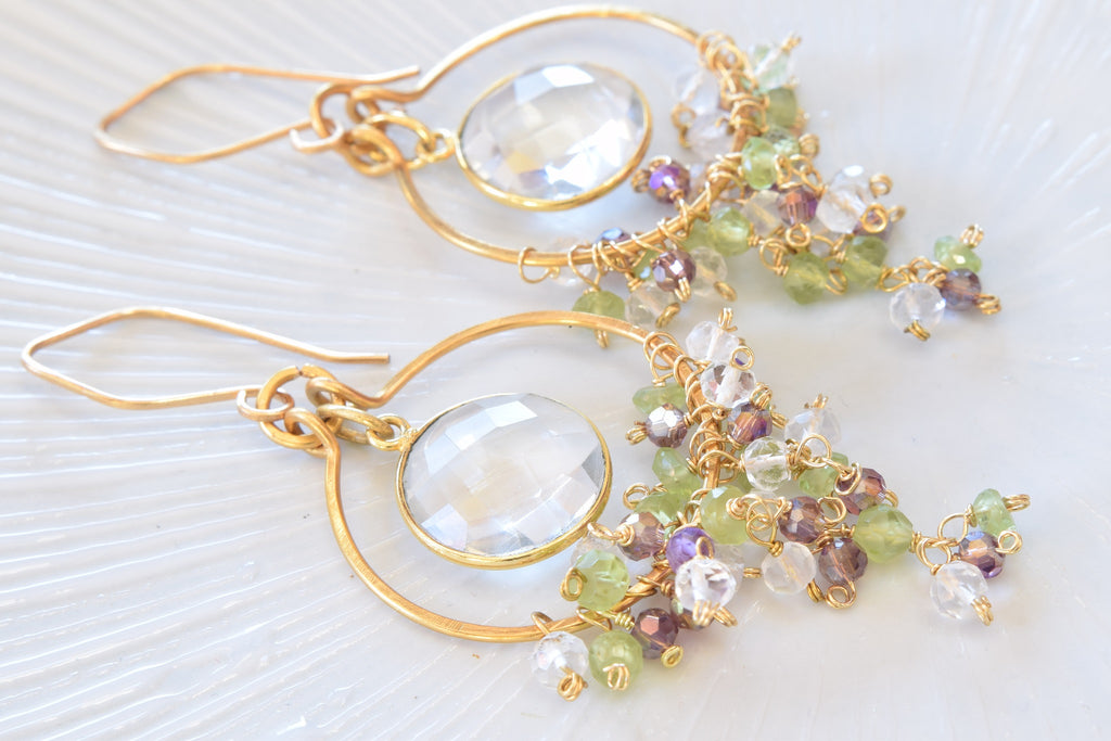 Clear Quartz Hoop Earrings