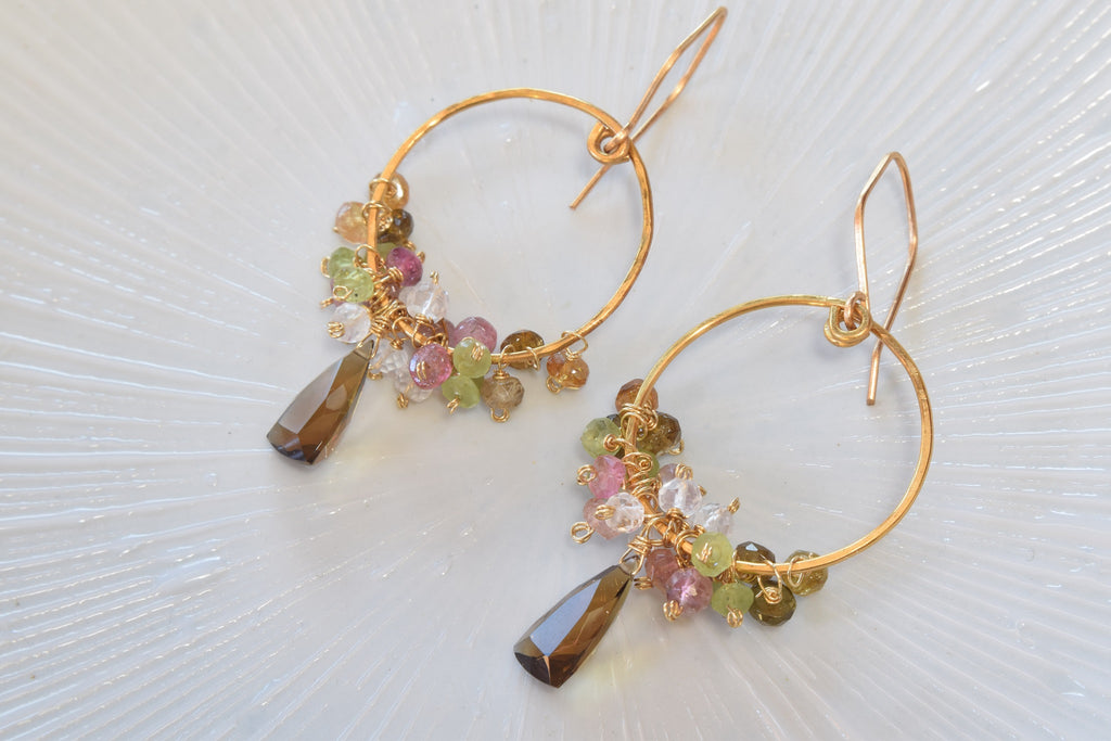 Beer Quartz Cluster Earrings
