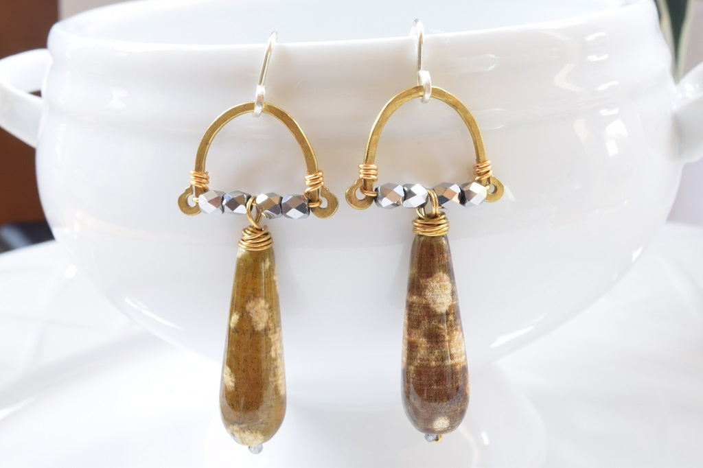 Mix Metal Agate Earrings