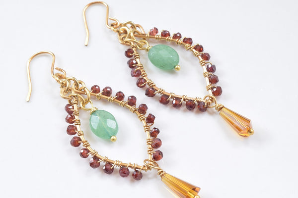 Garnet and Aventurine Hoop Earrings