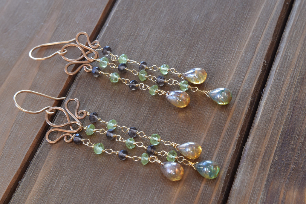 Lotus Beaded Fringe Earrings