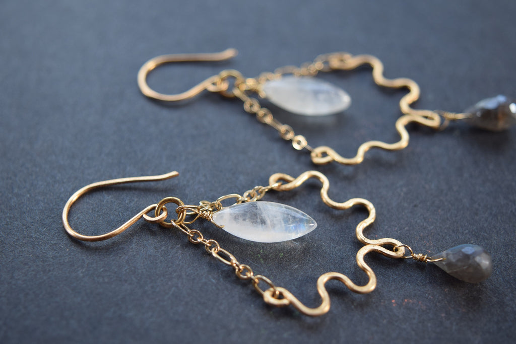 Rainbow Moonstone and Labradorite Earrings