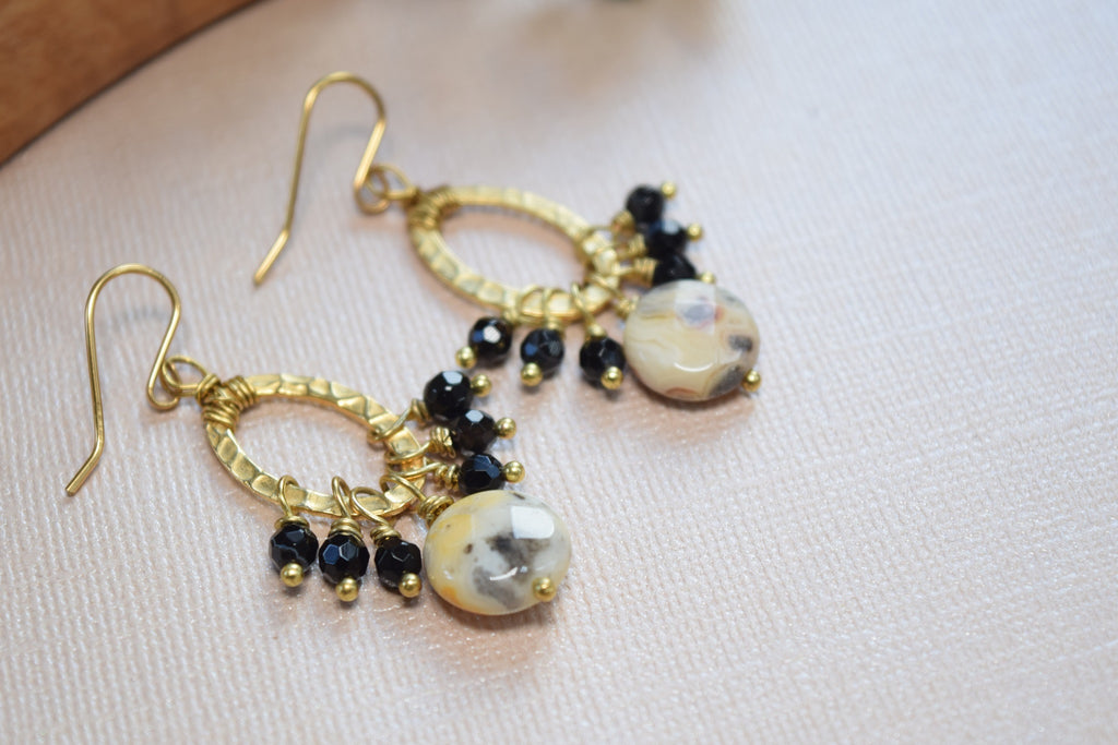 Spotted Jasper and Agate Hoop Earrings