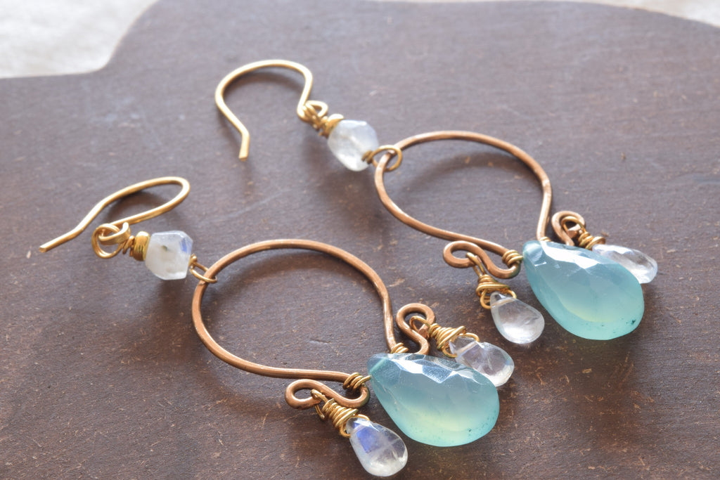 Blue Chalcedony and Moonstone Earrings