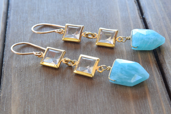 Amazonite and Crystal Square Earrings