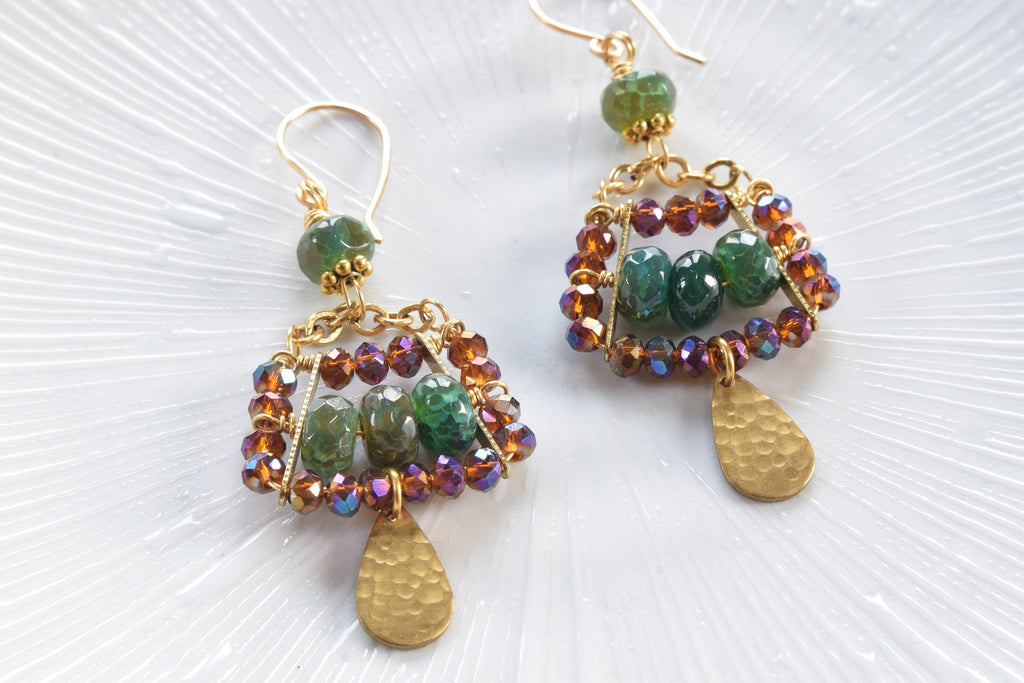 Green Agate and Crystal Earrings