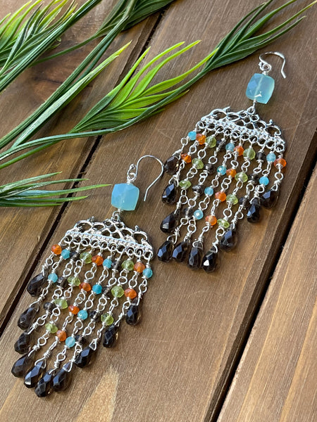 Gemstone Colored Fringe Earrings