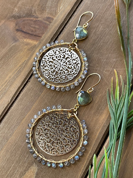 Labradorite Filigree Round Earrings