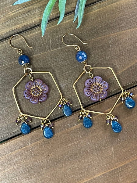 Apatite Bloom Hoop Earrings