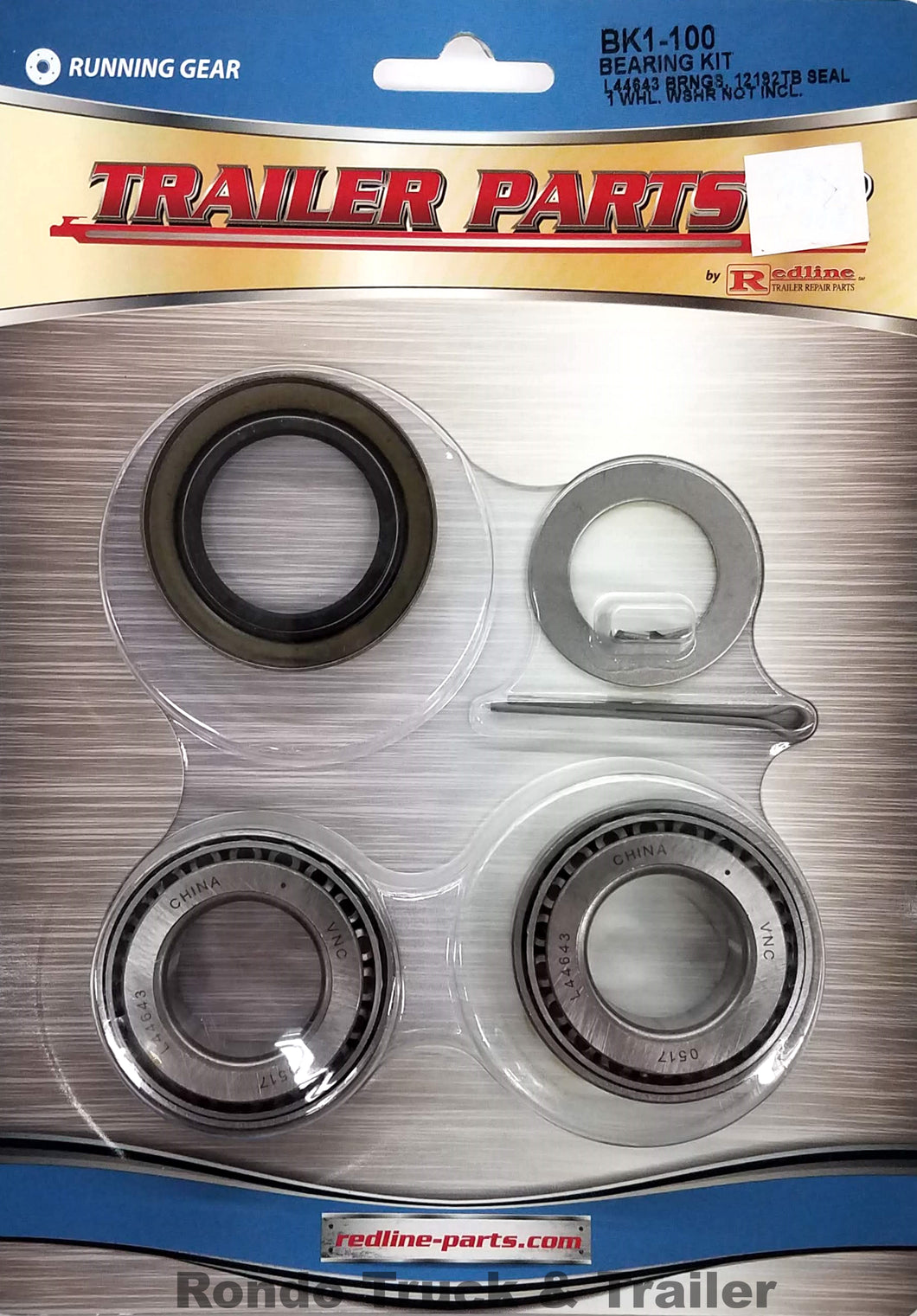 Redline 2,000# Axle Bearing Kit w/L44643 Bearings BK1-100