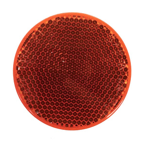 "Round Trailer Reflector, 2 3/8"" Diameter, Self-Adhesive, Red or Amber"