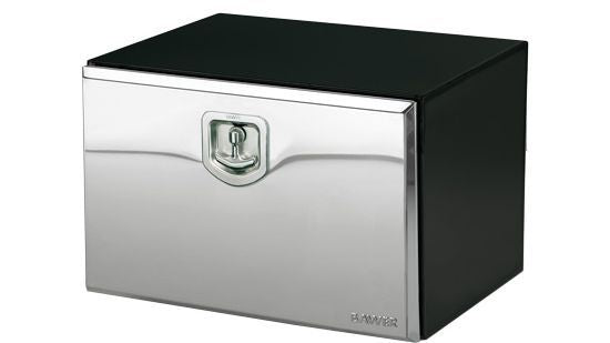 Bawer Black Steel Toolbox W/ Stainless Steel Locking T-Handle Lid