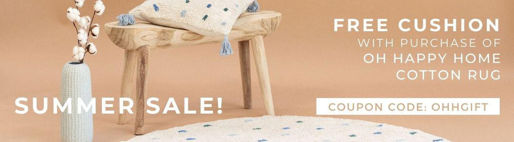 Summer Flash Sale 2021 Oh Happy Home Rug and cushion bundle