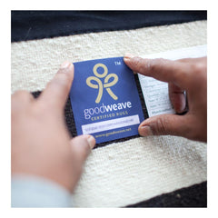 GoodWeave International approval label on a rug