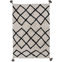 Oh Happy Home! Cotton Berber Black Washable Area Rug