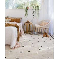 Oh Happy Home! Cotton Berber Going Dotty Black Washable Area Rug