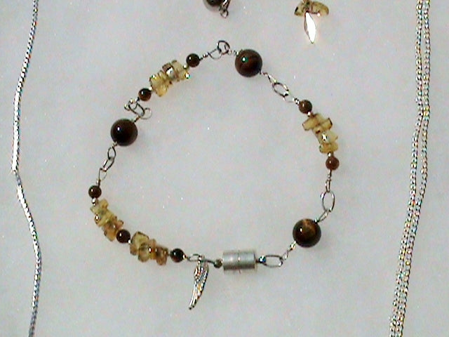 amber tiger eye and silver healing crystal bracelet