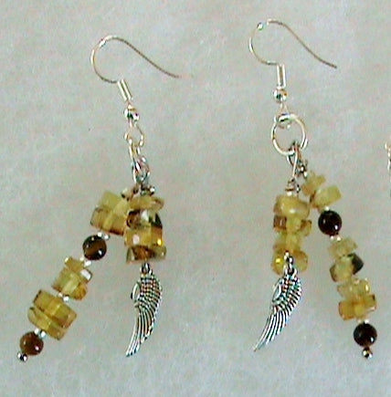 Chiapas amber earrings, silver wire