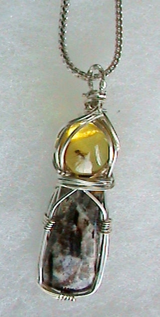 Chiapas Amber and Astrophyllite Necklace
