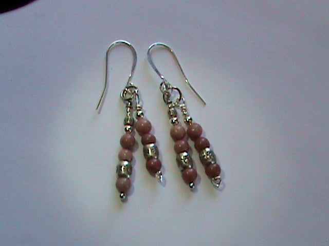 rhodochrosite earrings in sterling silver earwires