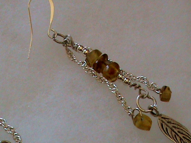 Long sterling chain and Amber earrings, silver feathers