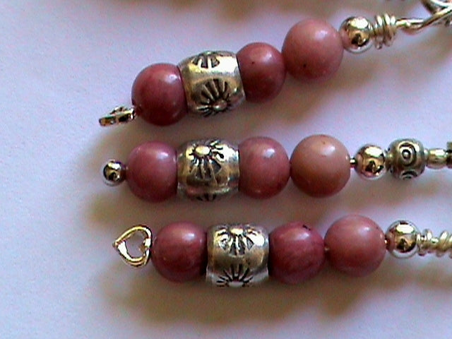 rhodonite rhodochrosite silver bead earrings