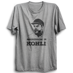 CRIC 03- Aggression Is Kohli -Half Sleeve-Grey