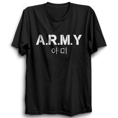 Army K-pop Half Sleeve Black