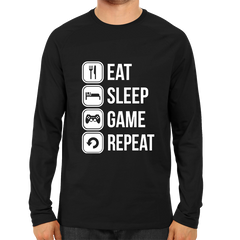 Eat Sleep Game Repeat Full Sleeve Black