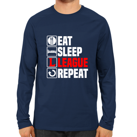 Eat Sleep League Repeat -Full Sleeve Navy Blue