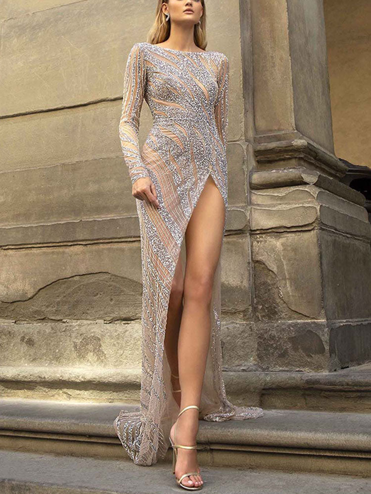 Sexy Sequin Long Sleeves High Split See-Through Long Dress