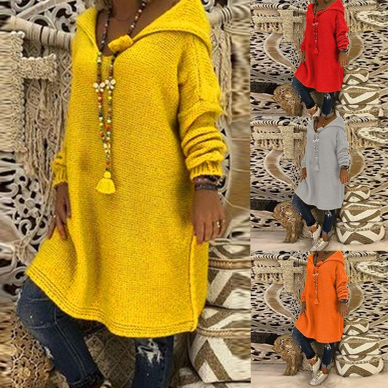 Hooded Plain Loose Long Sleeve Knitting Long Sweaters t-shirt