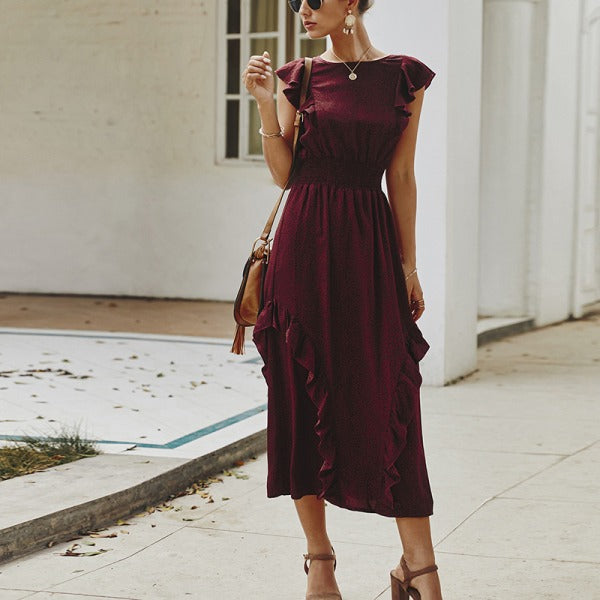 Stylish Round Neck Ruffle Dress