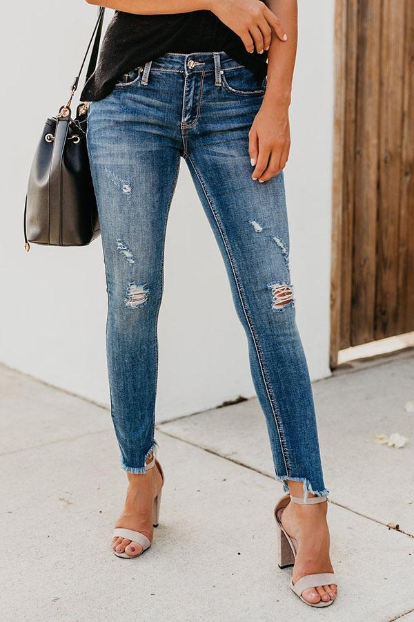 Fashion Skinny Jeans With Holes In The Bottom