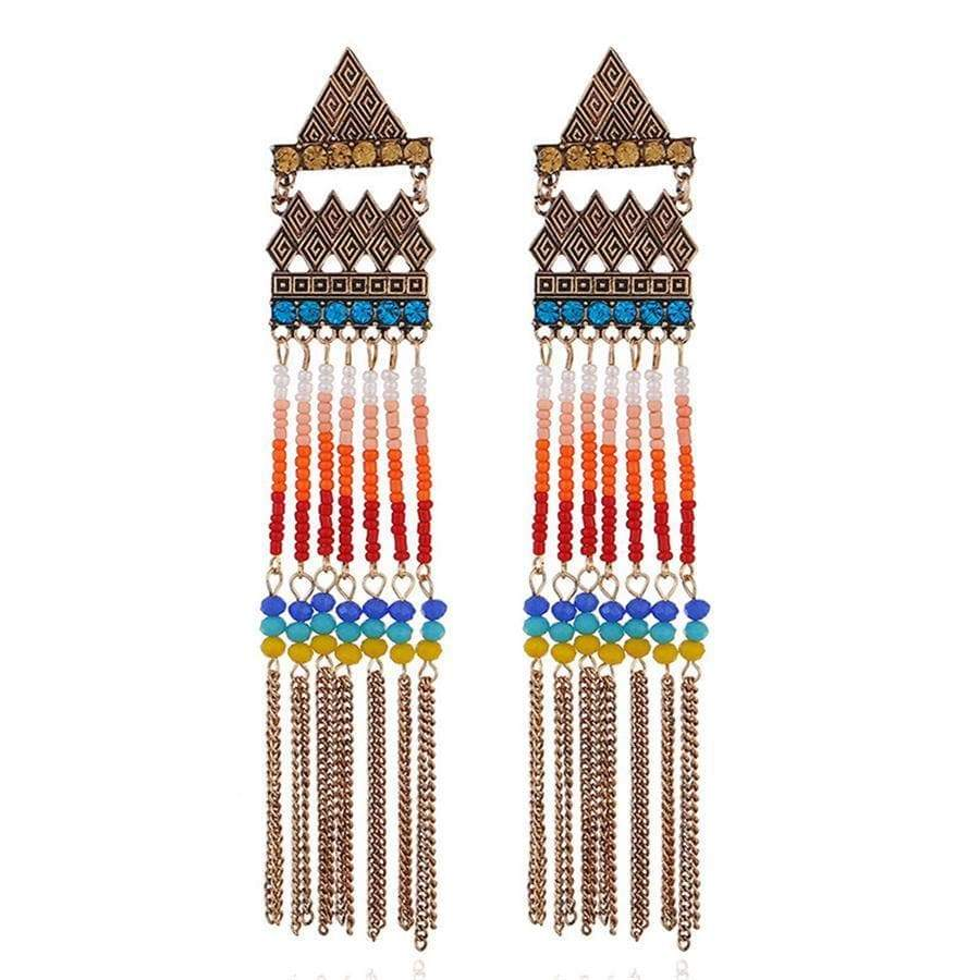 Vintage   bohemian beaded tassel earrings