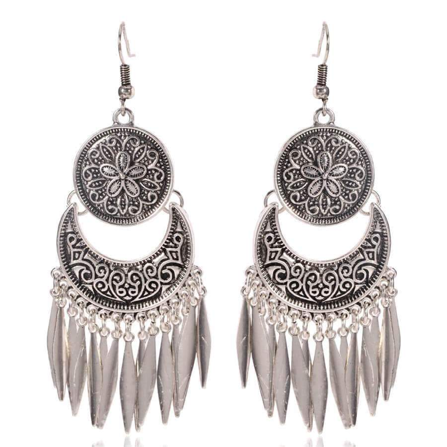 Ethnic style vintage pattern tassel earrings